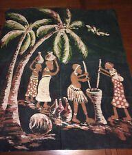 Vtg Mid Century Batik Painting Island Village Scene Palm Tree Tiki Decor 35 x 31