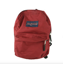Vintage 90s JanSport Spell Out Box Logo School Backpack Book Bag Nylon Red