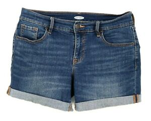 Old Navy Jeans Shorts Womens Sz 4 Blue Cotton Blend Pockets Belt Loops Mid Rise