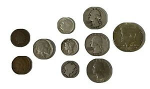 Coin Lot Starter Set 10 Coins,JFK, Old Cents,Barber, Mercury, Buffalo, Silver, +
