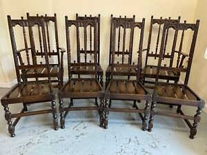 Set of 8 Ercol Colonial Dining Chairs Including 2 Carvers