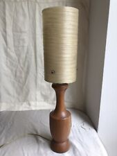 Authentic Vintage/Retro 1960s Teak Table Lamp + Cream Spun Fibre Shade 43cm Vgc