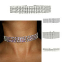 Choker Crystal Fashion Necklace Ladies Girl Diamante Jewellery Rhinestone Silver