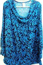 JMS Women Top Size 4X (26W/28W) FFJM9304P Navy/Blue 95% Polyester 5% Spandex