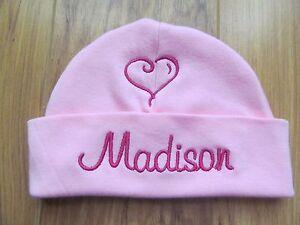 PERSONALIZED MONOGRAM CUSTOM Baby Newborn Hospital Hat Cap Beanie Pink Heart