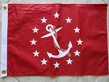 """12""""X18"""" NAUTICAL:VICE COMMODORE FLAG DBL SIDED NYLON BOAT/YACHT MADE IN USA"""