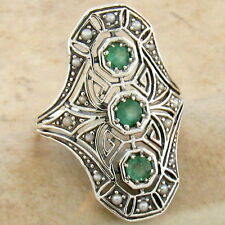 GENUINE EMERALD .925 STERLING VINTAGE ART DECO STYLE SILVER RING SIZE 10,   #753