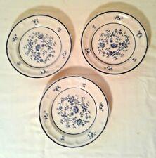 "Newcor Stoneware Blue Floral Design Salad Plates (3) Villa 680 7.5"""
