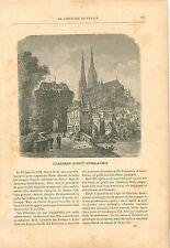 Porte Guillaume Chartres Henri IV Siège de Rouen 19th XIX GRAVURE ANTIQUE PRINT