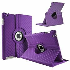 Purple Fashion Diamond Leather 360° Rotating Stand Case Cover For iPad 2/3/4