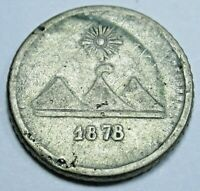 """1878 DDO + """"Large G"""" Guatemala Silver 1/4 Reales Antique 1800's 11mm Coin"""