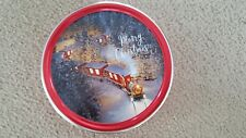 Round Metal Cookie Tin Canister Christmas Scene Lid - Scene