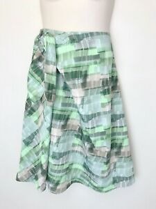 COS green grey print A line skirt size 44 (16) tie front midi length pocket