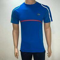 Lacoste Mens Sport Upper Mesh Tennis T Shirt XS Fr 2 Blue Multicolor Stripes