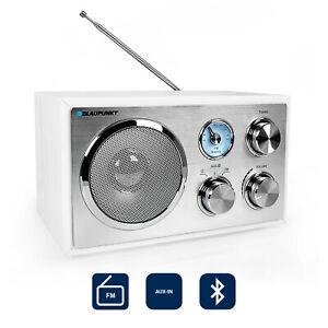 Blaupunkt UKW Küchenradio Retro Radio Holz Gehäuse Bluetooth AUX IN weiß