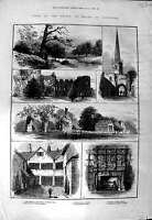 Original Old Antique Print 1882 Prince Wales Leicester Matlock Bradgate Abbey