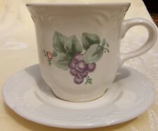 Pfaltzgraff Grapevine Coffee Cups Set of 2 White Purple Grapes Stoneware USA EUC