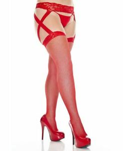 Plus Size Fishnet Stockings With Lace Garter Belt - Music Legs 7910Q
