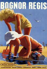Art Ad Bognor Regis British Railways Fun on the Beach Rail Travel  Poster Print