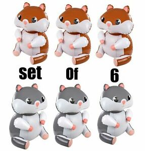 (Set Of 6) 24'' Brown & Grey Sitting Hamsters Inflatable Toy Party Decorations