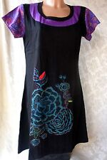 BÄRES Long-Shirt Tunika Kleid Baumwolle Gothic Hippie Batik Nepal L/XL (T306)