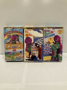 Barney VHS Lot Of 3-Good Day Good Night, Adventure Bus & Fun And Games | Tested!