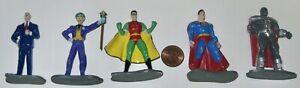 5 DC COMICS DIE CAST MINI METAL FIGURES LEX LUTHOR/JOKER/ROBIN/SUPERMAN/STEEL-GD