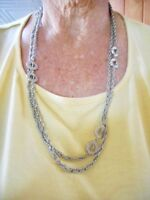 "Authentic Vintage Silver Tone 52"" 1960's Wear Long or Double Wrap Necklace"