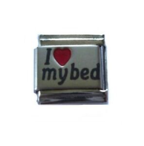 9mm  Italian Charm L36 Sleep I Love My Bed Fits Classic Size Bracelet
