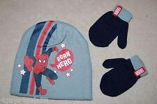 Toddler Boys KNIT STOCKING HAT MITTENS Gray Navy Red SPIDERMAN Born Hero