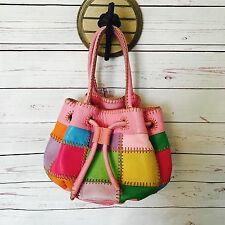 CARLOS FALCHI Fatto A Mano Pebble Leather Patchwork Bucket Purse Bag Pink Summer