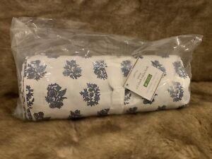 "Pottery Barn Inesa Oil Cloth Tablecloth 70""x108"" Blue Floral NWT"