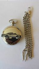 Volvo P 1800S ref279 pewter effect emblem on a polished silver case pocket watch