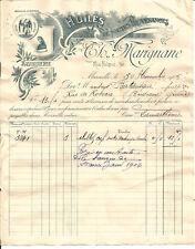 Marseille, Facture 1905. Maison Marignane,Huiles et savonnerie.