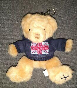 GENUINE HARRODS TEDDY BEAR KEYRING WEARING BLUE HOODIE WITH UNION JACK!