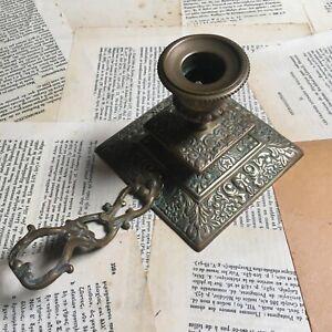 Bougeoir à Main Ancien Laiton XIXè Mascarons - Antique Candle Holder