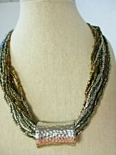 Modern Multi Strand Seed Beed Copper & Silver Color Necklace