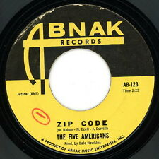 "THE FIVE AMERICANS 45:  ""Zip Code / Sweet Bird Of Youth""  1967  Abnak  VG(+)"