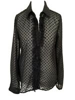 Zara Blouse Size Small Black Semi Sheer Polka Dot Long Sleeve Collared