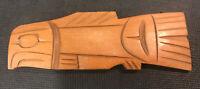 northwest coast carving Tony Yelton Squamish  Tribe Signed Salmon Cedar