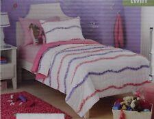 Shabby Chic Cottage Ruffle Twin Quilt & Pillow Sham Set Lavender Purple Pink Dot