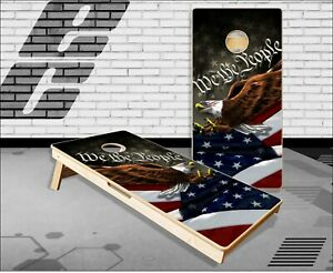 American Flag Eagle Constitution Cornhole Boards Bean Bag Toss Game