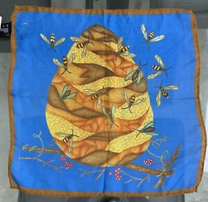 100% Pure Silk Pocket Square Made In Italy with Colorful Bees & Nest Design NWT