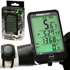 PEDALPRO WIRELESS DIGITAL BIKE COMPUTER BICYCLE/CYCLE LCD WATERPROOF SPEEDO PC