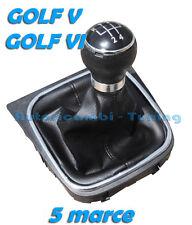 KIT COMPLETO POMELLO LEVA CAMBIO + CUFFIA NERA VW GOLF 5 V GOLF 6 VI 5 MARCE