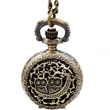Vintage Bronze Tone Hollow Two Cute Owl Pocket Quartz Watch Pendant Necklace