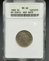 1883 No Cents Liberty V Nickel Variety Coin ANACS MS62 RPD 011 Repunched Date