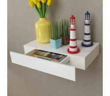 Contemporary Bedside Table Wall Mounted Shelf With Drawer Wooden Floating Desk