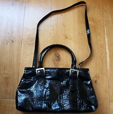 Fabio Dericci Stunning Black Faux Croc Leather Bag, in Excellent Condition!