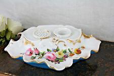 antique 19th c Vieux old paris porcelain floral inkwell